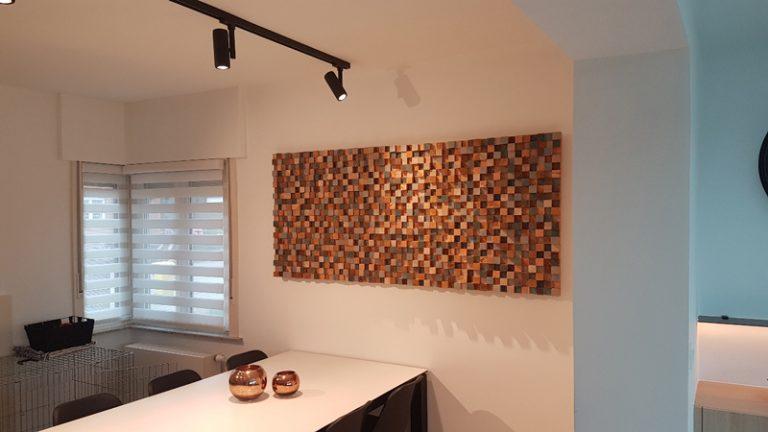Houten Wanddecoratie in de woonkamer